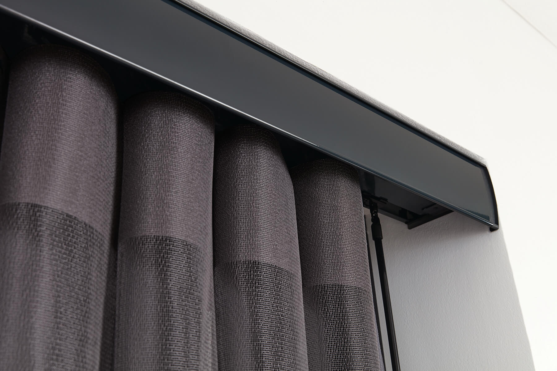 Allusion Blinds - Anthracite Facia with Horizon Pewter fabric