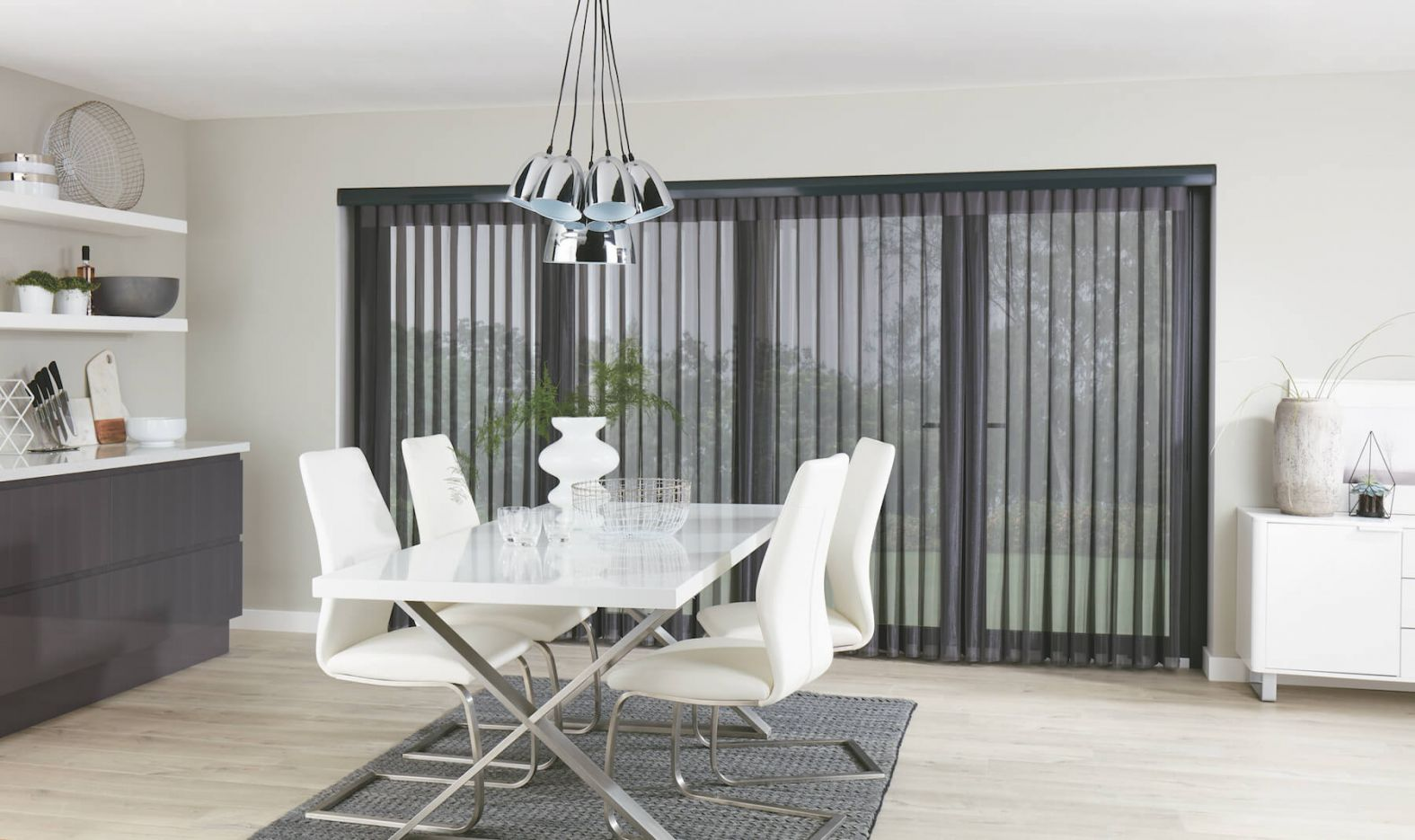 Allusion Blinds - Horizon Pewter Allusion Blind Open