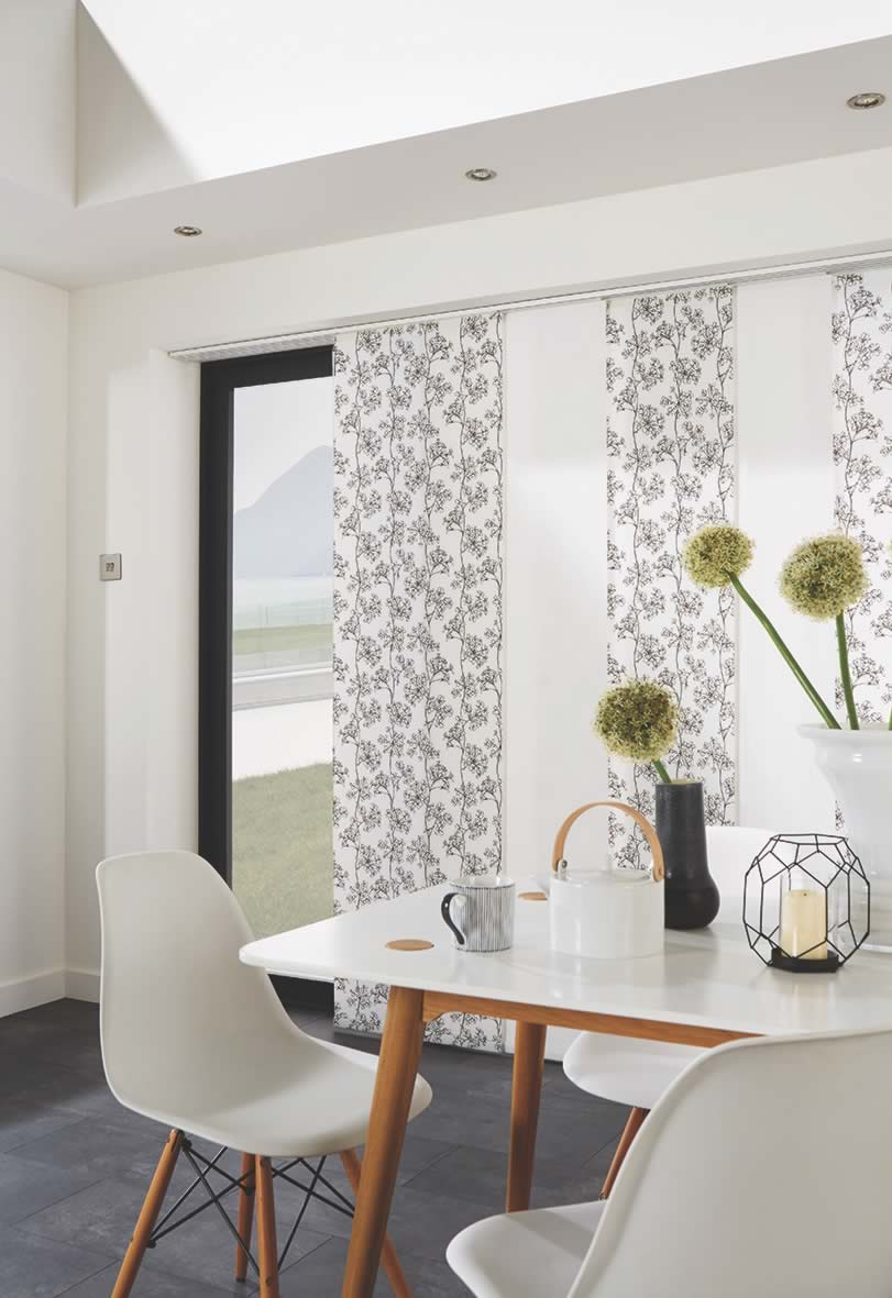 Panel Blinds - Ayana Black/Carnival China White mixed panel