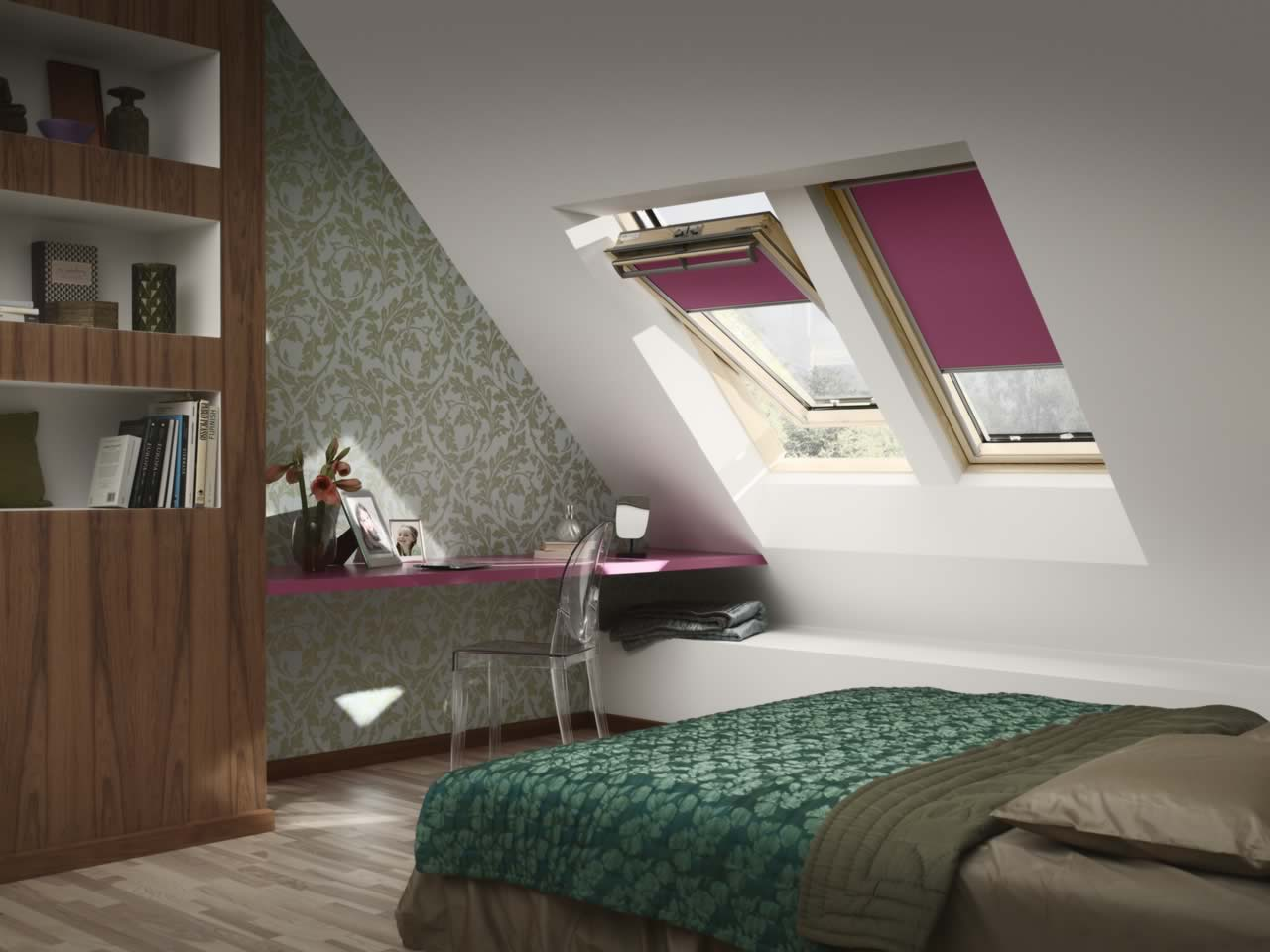 Velux and Skylight Blinds - Blackout Pink Skylight